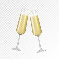 champagne di vetro dorato realistico 3d isolato