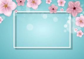 realistico bello sprind 3d e priorità bassa del fiore rosa di estate. illustrazione vettoriale eps10