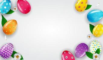 modello del manifesto di Pasqua con le uova di Pasqua realistiche 3d con lo spazio della copia