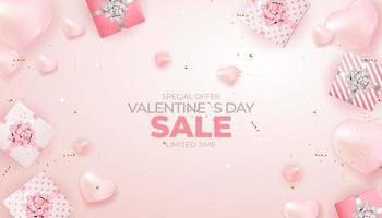 progettazione del fondo dell'insegna di vendita di San Valentino. pubblicità, web, social media e annunci di moda. poster orizzontale, flyer, biglietto di auguri, intestazione per illustrazione vettoriale sito Web