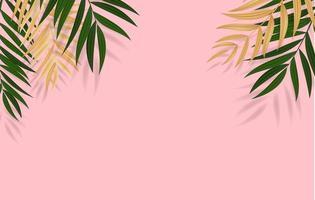 foglie di palma tropicali verdi realistiche astratte. illustrazione vettoriale con copia spazio