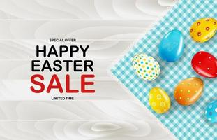modello del manifesto di vendita di Pasqua con uova di Pasqua realistiche 3d e vernice. modello per pubblicità, poster, flyer, biglietto di auguri. illustrazione vettoriale