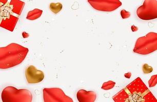 disegno di sfondo di San Valentino con labbra e cuori realistici. modello per pubblicità, web, social media e annunci di moda. poster, flyer, biglietto di auguri. illustrazione vettoriale