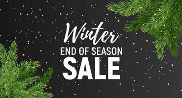 banner di vendita di fine stagione invernale con particelle di neve