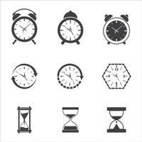 collezione di icone di tempo e orologio vettore