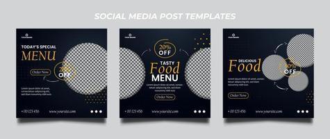 set di modelli di banner quadrati di promozione alimentare vettore