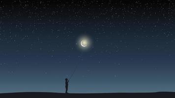 cielo stellato, campo, ragazzo che tiene un palloncino a forma di luna. vettore