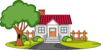 vista frontale di una casa con elementi della natura su sfondo bianco vettore