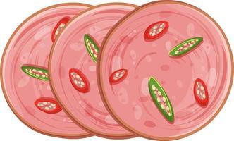 salsiccia di Bologna a fette con peperoncino isolato