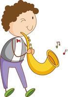 un bambino di doodle che gioca il personaggio dei cartoni animati del sassofono isolato vettore