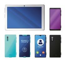 set di smartphone realistici e tablet mockup vettore
