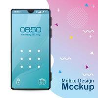 mockup di design per telefono cellulare, poster realistico per smartphone vettore