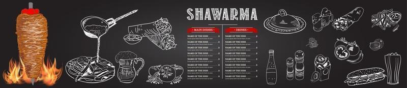 cucina shawarma e ingredienti per kebab.
