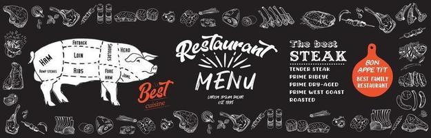 menu bistecca per ristorante e caffetteria. volantino alimentare.