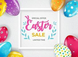 modello del manifesto di vendita di Pasqua con uova di Pasqua realistiche 3d. modello per pubblicità, poster, flyer, biglietto di auguri. illustrazione vettoriale.