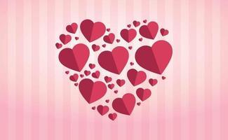 cuori delicatamente rosa-rossi sotto forma di un grande cuore su uno sfondo rosa a strisce vettore