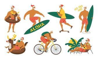 estate babbo natale in pantaloncini sul set vettoriale spiaggia. personaggio dei cartoni animati carino per il design di Natale isolato su sfondo.