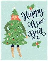 cartolina di Natale o poster con ragazza vestita come un abete e che celebra un nuovo anno.
