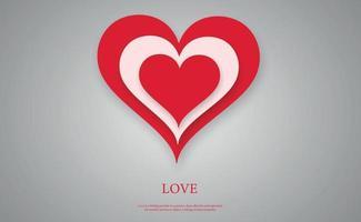 astratto festivo cuore rosso su sfondo grigio - illustrazione vettoriale