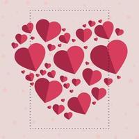 cuori delicatamente rosa-rossi sotto forma di un grande cuore su uno sfondo di stelle rosa vettore
