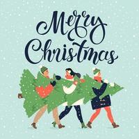 buon natale e felice anno nuovo biglietto di auguri. gruppo di persone che trasportano un grande albero di pino di Natale insieme per le festività natalizie con decorazioni, regali vettore