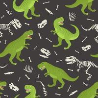 scheletro di dinosauro seamless grunge. design originale con t-rex, dinosauro. stampa per t-shirt, tessuti, carta da imballaggio, web. vettore
