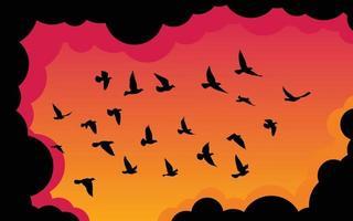 carta da parati del modello delle siluette degli uccelli volanti. illustrazione vettoriale. uccello isolato in volo. disegno del tatuaggio. modello per carta, pacchetto e sfondo. vettore
