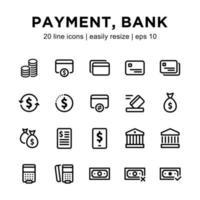 set di icone di pagamento o banca vettore