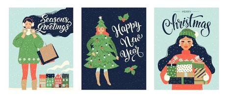impostare modelli di cartolina di Natale e felice anno nuovo. stile retrò alla moda. modello di disegno vettoriale.