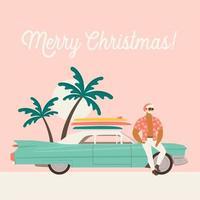 vacanze estive con Babbo Natale e auto. illustrazione vettoriale piatta.