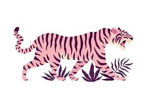 tigre e foglie tropicali. illustrazione vettoriale alla moda.