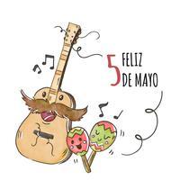 Carattere carino chitarra con maracas e note musicali vettore