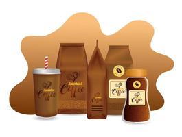 set di mockup di caffè per il design della confezione