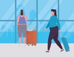 donne con bagagli nel terminal dell'aeroporto vettore