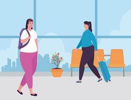 giovani donne in aeroporto vettore