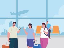 giovani al terminal dell'aeroporto vettore