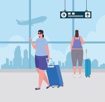 giovani donne con bagagli al terminal dell'aeroporto vettore