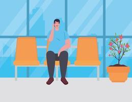 uomo seduto sulla sedia al terminal dell'aeroporto vettore