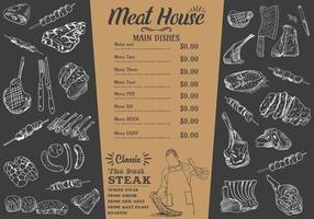 menu bistecca per ristorante e caffetteria. volantino alimentare. vettore