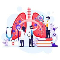 concetto di pneumologia, i medici controllano i polmoni umani per infezioni o problemi mediante l'illustrazione del virus corona covid-19 vettore