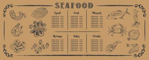 modello di menu del ristorante di pesce. vettore. vettore