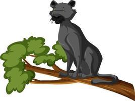 pantera nera su un ramo isolato sfondo bianco vettore
