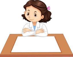 uniforme ragazza scienziato con carta bianca sul tavolo vettore