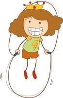un personaggio dei cartoni animati di doodle kid saltare la corda isolato