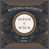 Vettore di invito di matrimonio elegante Art Deco