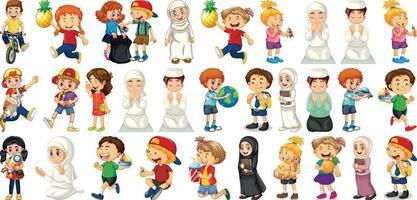 bambini che fanno diverse attività personaggio dei cartoni animati impostato su sfondo bianco vettore