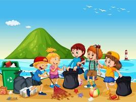 scena della spiaggia con un gruppo di bambini che puliscono la spiaggia vettore