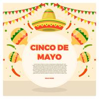 Illustrazione piana di vettore di Cinco De Mayo