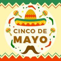 Illustrazione piana di vettore di Cinco De Mayo