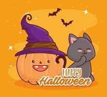 felice halloween, zucca carina con un cappello da strega e un gatto vettore